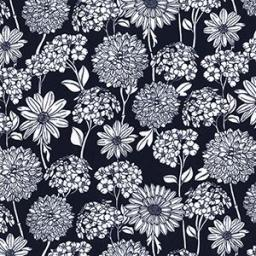 Navy Dahlia cotton poplin