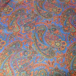 Polyester Paisley lining -blues and red