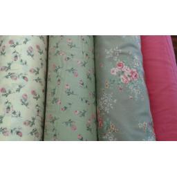 Green + pink rose cotton poplin
