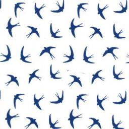 White Swallows cotton poplin