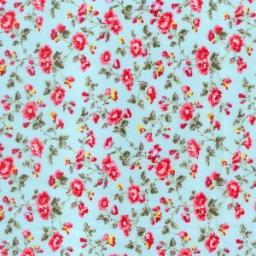 Turquoise + pink floral cotton poplin