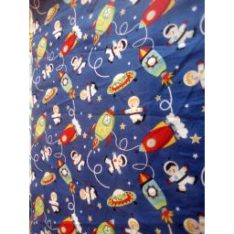 Space and rockets cotton fabric