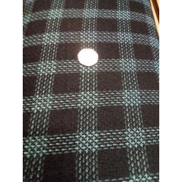 Navy Teal wool look poly viscose check