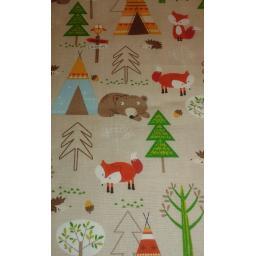 Woodland animals print 100% Cotton Poplin