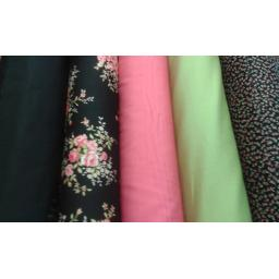 Black + pink floral cotton poplin