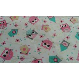 Owl and birdhouse cotton fabric