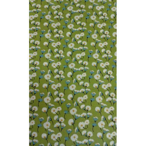 Lime floral cotton lawn