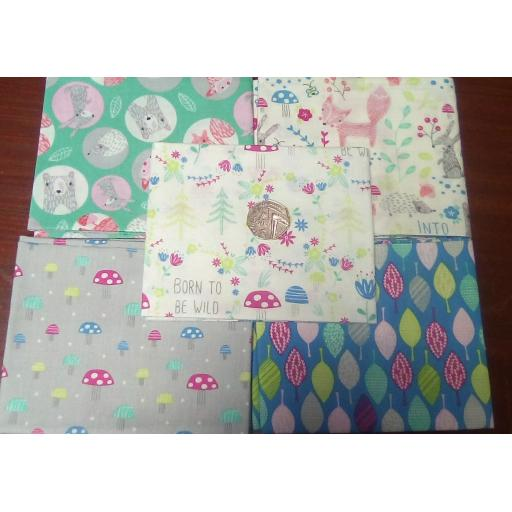"""Fat quarters 5 pack -woodland animals """"Into the woods"""""""