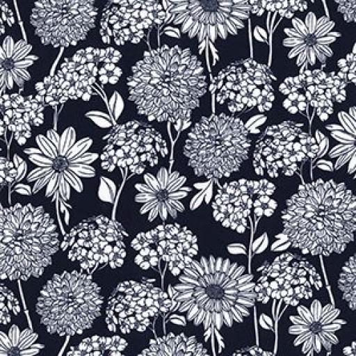 Navy Dahlia cotton poplin