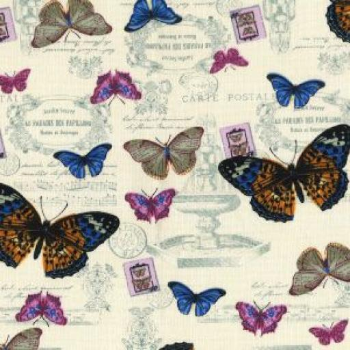 Ivory Butterfly print cotton canvas