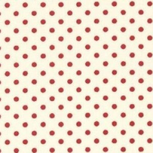 Cream + red spot cotton poplin