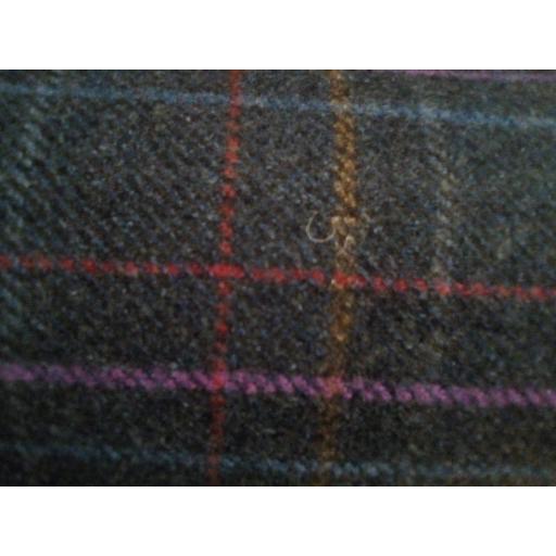 Navy purple wool mix check