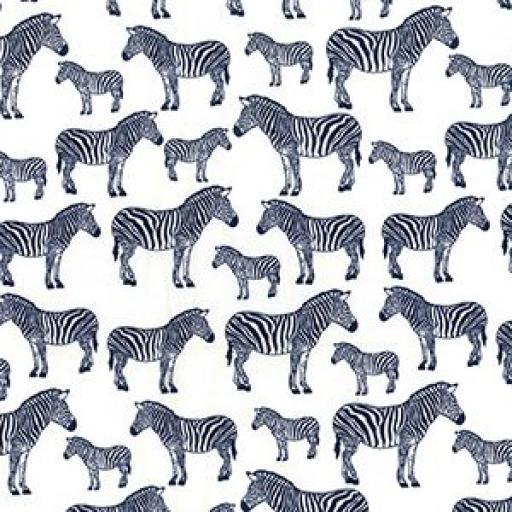 Zebra (navy) cotton poplin