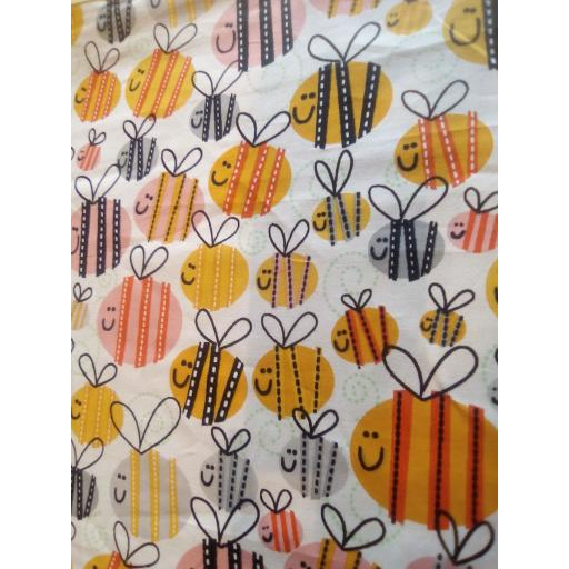 Bees cotton fabric