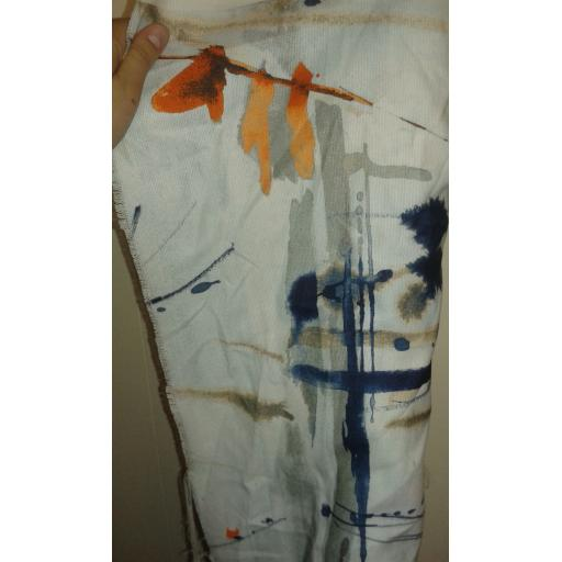 Curtain fabric- blue and orange abstract print