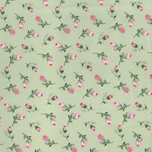Green + pink rose cotton poplin