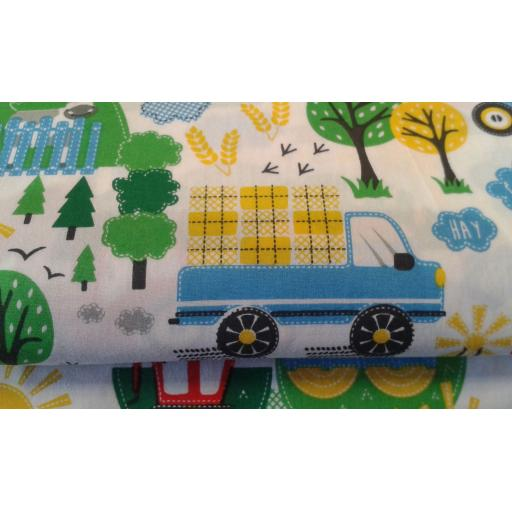 Farm and Tractor cotton fabric