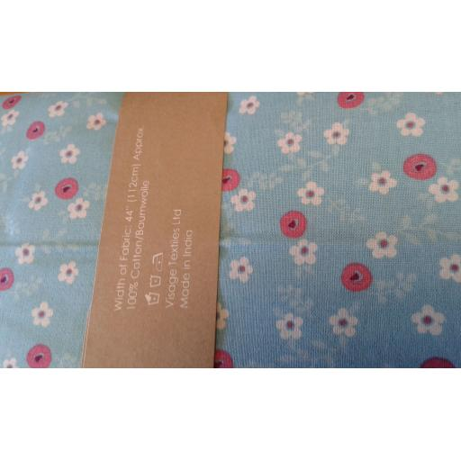 Turq floral cotton fabric