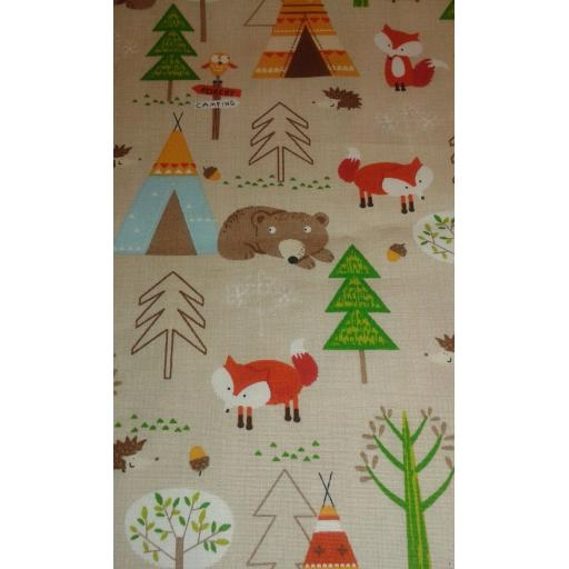 Woodland animals print 100% Cotton Poplin