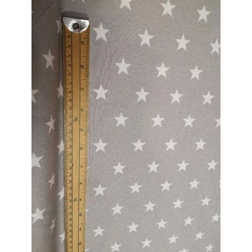 Grey large star cotton poplin
