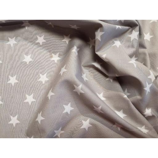 Grey large star cotton poplin