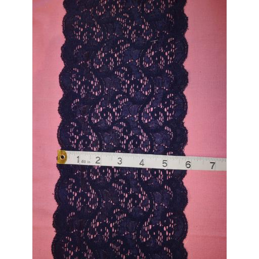Navy stretch lace trim
