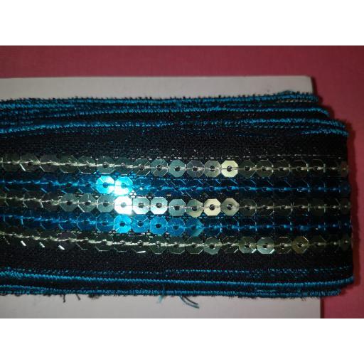 Sequin trim blue on black