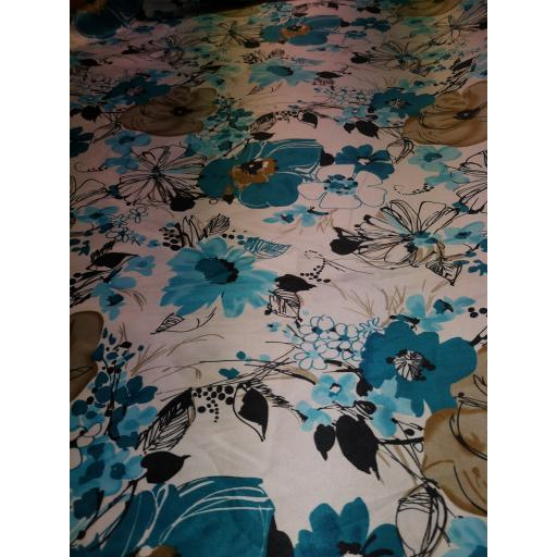 Floral polyester satin (blue on cream)