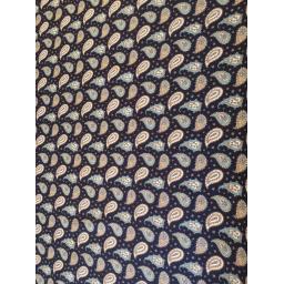 Navy paisley cotton poplin