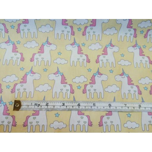 Yellow unicorn cotton poplin