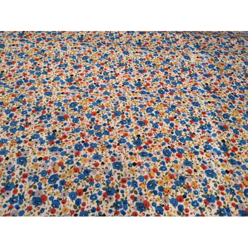 Blue terracotta ditsy cotton poplin fabric