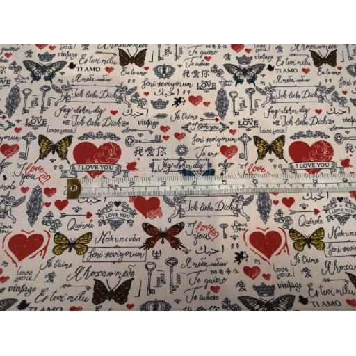 Butterfly valentines cotton poplin fabric