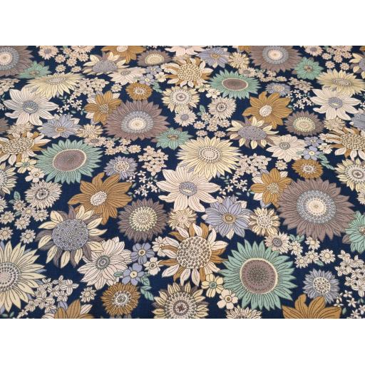 Navy sunflower print cotton poplin fabric