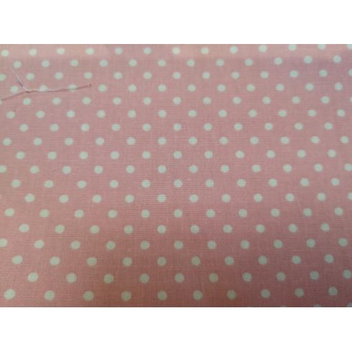 Mid pink spot cotton poplin fabric by Rose and Hubble
