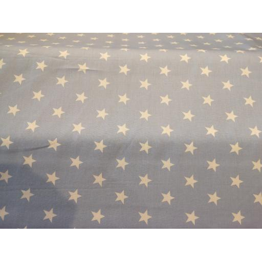 Blue large star cotton poplin