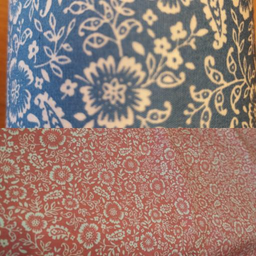 Blue Delph and Coral floral cotton poplin