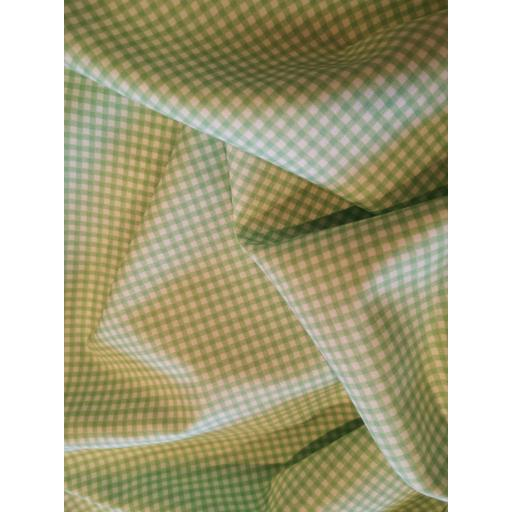 Mint green gingham print cotton poplin