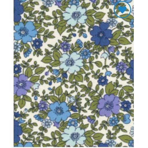 Blue vintage floral cotton poplin