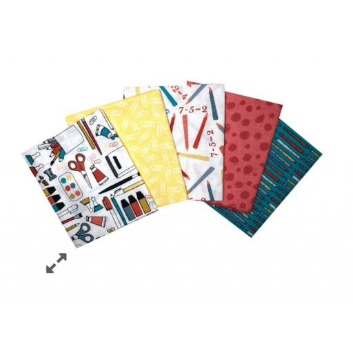 Back to school 5 piece fat quarter set