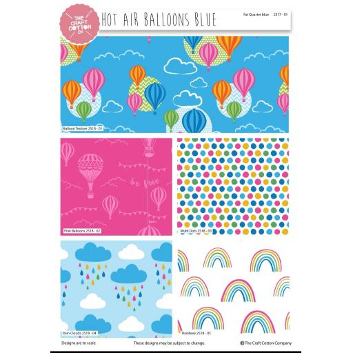 Hot air balloons 5 piece fat quarter set by Stuart Hillard