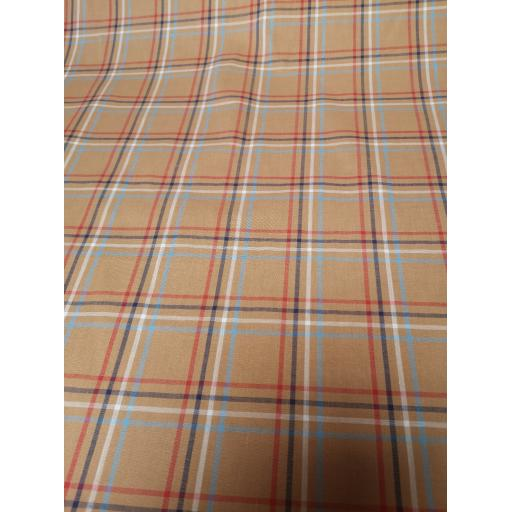 Camel, Red white and blue cotton check fabric.jpg