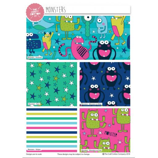 Monsters 5 piece fat quarter set