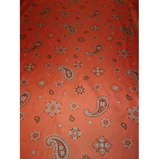 Polyester Paisley lining -terracotta