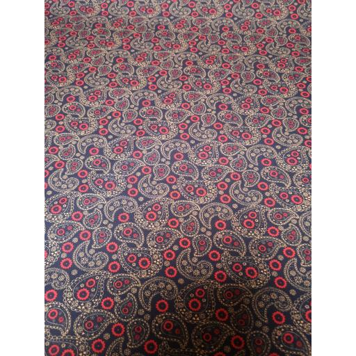 Navy and red Paisley print cotton poplin