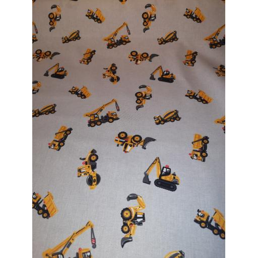 Digger, tractor cotton poplin fabric