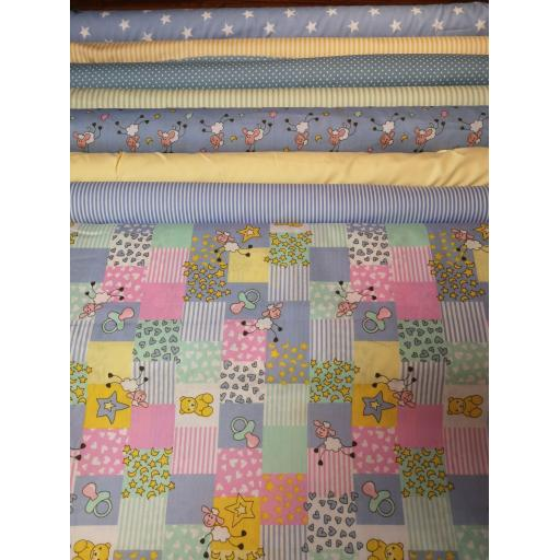 Sheep patchwork cotton fabric