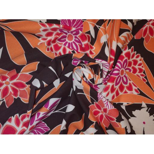 Large floral cotton lawn, brown, orange, cerise