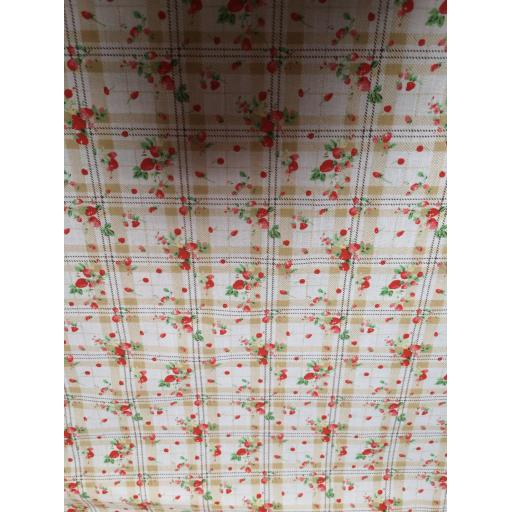 Strawberry check Polycotton