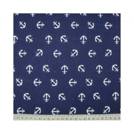 Navy Anchors , nautical Polycotton