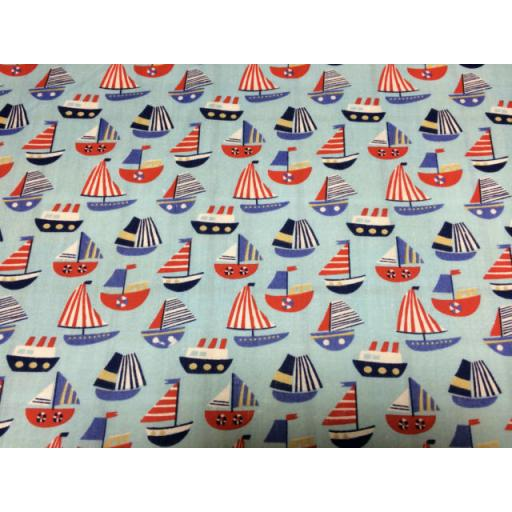 Blue boats, nautical Polycotton
